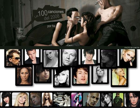 Las 100 mejores canciones del 2008. Top 100 2008. Las mejores 100 del año. Lo mejor del 2008.