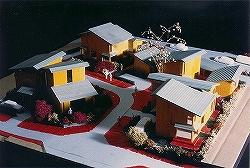 模型写真.1..鳥瞰|建築模型写真作品集|ミニ宅地開発・吹き抜け付高級・デザイン注文住宅