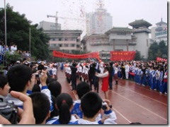 Class 16 perform at the opening ceremony ofthe sports day